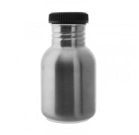 GOURDE INOX ACIER 350 ml bouchon large noir à vis