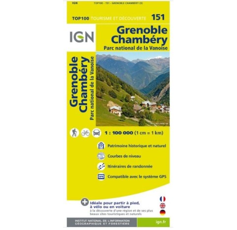 IGN Carte TOP 100 Tourisme et vélo GR GRENOBLE CHAMBERY