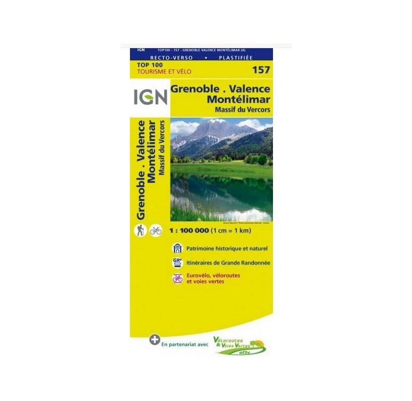 CARTE IGN TOP 100 - 157 de Grenoble à Valence et Montélimar - Le Massif du Vercors