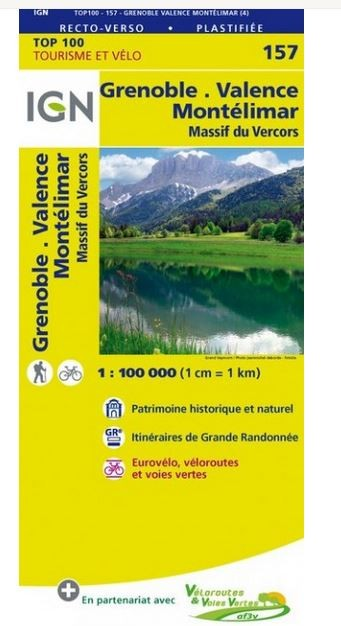 IGN Carte TOP 100 Tourisme et vélo GR GRENOBLE VALENCE MONTELIMAR MASSIF DU VERCORS