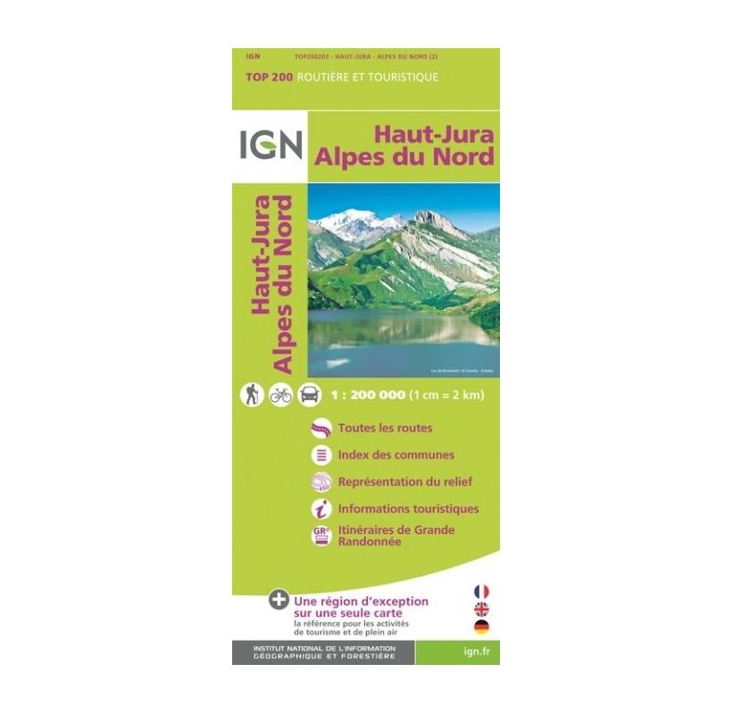Carte IGN TOP 200 - routes communes du HAUT-JURA aux ALPES du NORD