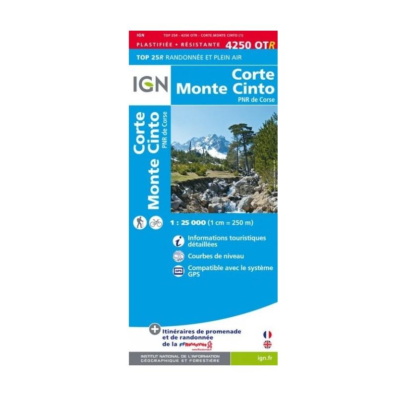 CARTE IGN TOP 25  4250 OTR - CORTE MOTE CINTO - Parc National de Corse - PNR DE CORSE