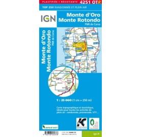 CARTE IGN CORSE IGN TOP 25 4251 OTR MONTE D ORO MONTE ROTONDO