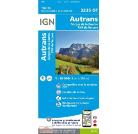 Carte IGN TOP 25 3235OT AUTRANS GORGES DE LA BOURNE PNR VERCORS