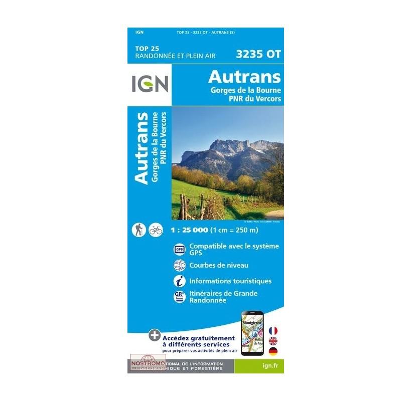 3235OT AUTRANS GORGES DE LA BOURNE PNR VERCORS -carte de randonnée IGN TOP  25