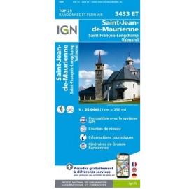 Carte IGN 3433ET Saint-Jean-De-Maurienne/Saint-Francois-Longchamp/Valmorel