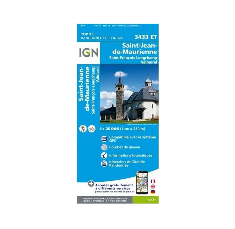 3433ET Saint-Jean-De-Maurienne-Saint-Francois-Longchamp -Valmorel IGN TOP 25