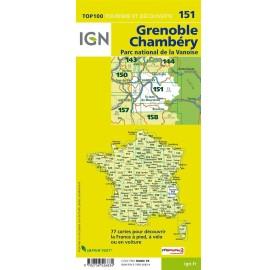 IGN Carte TOP 100 Tourisme et vélo GRENOBLE BOURG-SAINT-MAURICE