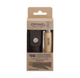 OPINEL couteau de poche lame 8 avec étui en cuir passant ceinture