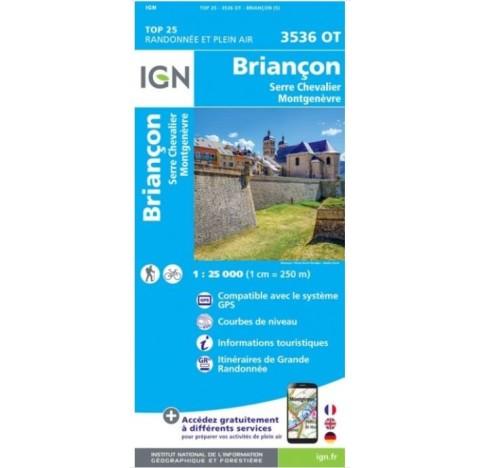 BRIANCON SERRE CHEVALIER MONT GENEVRE Carte IGN TOP 25 3536OT