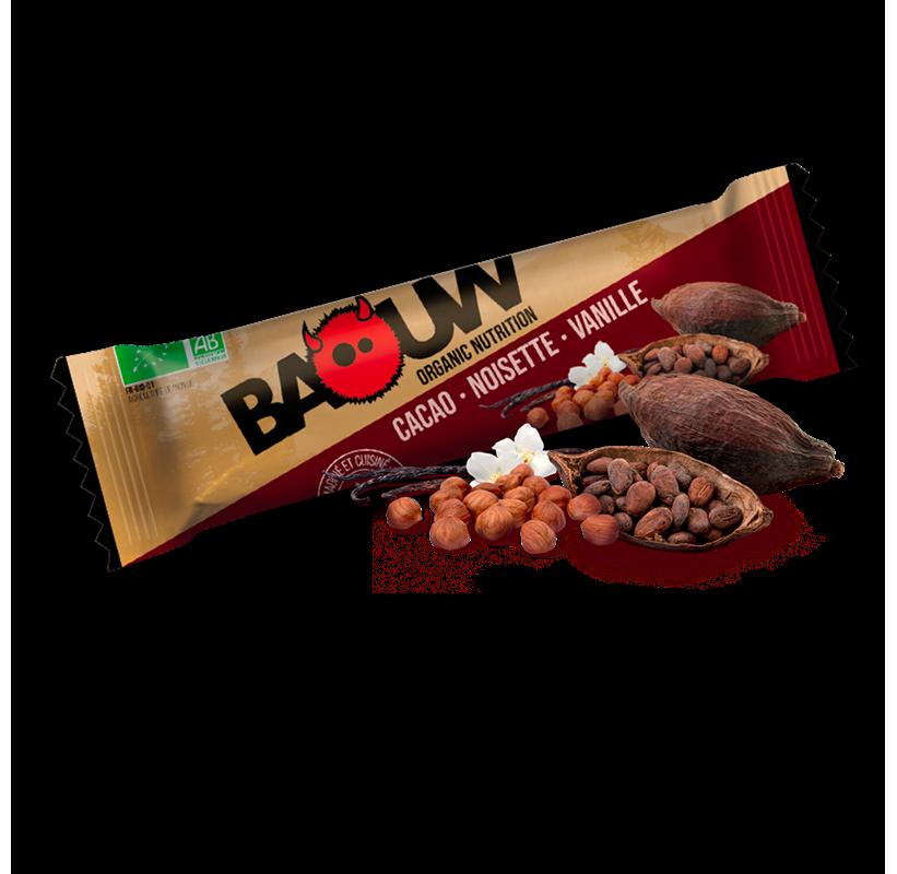 Barre énergétique bio Cacao - Noisette - Vanille BaouW made in France