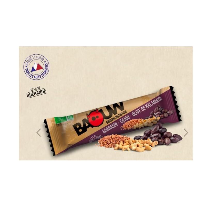 Barre énergétique bio SARRASIN - CAJOU - OLIVE DE KALAMATA BAOUW