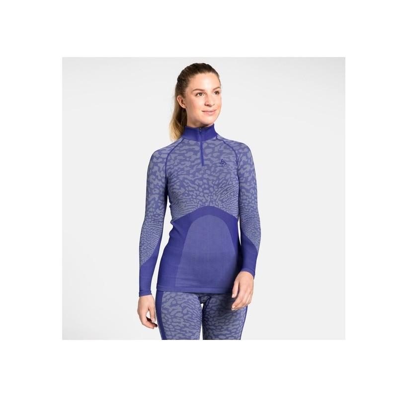 BLACKCOMB ODLO Sous-vêtement chaud femme col montant ½ zippé chaud respirant doux slim
