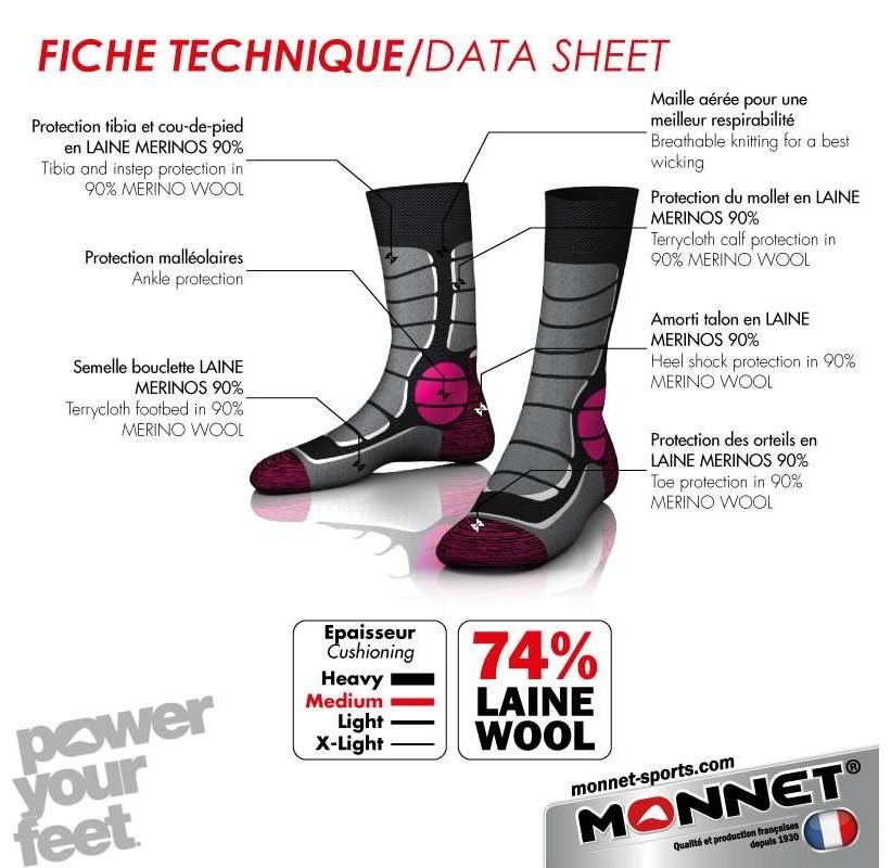 TREK MEDIUM 74 % LAINE MONNET Chaussettes laine