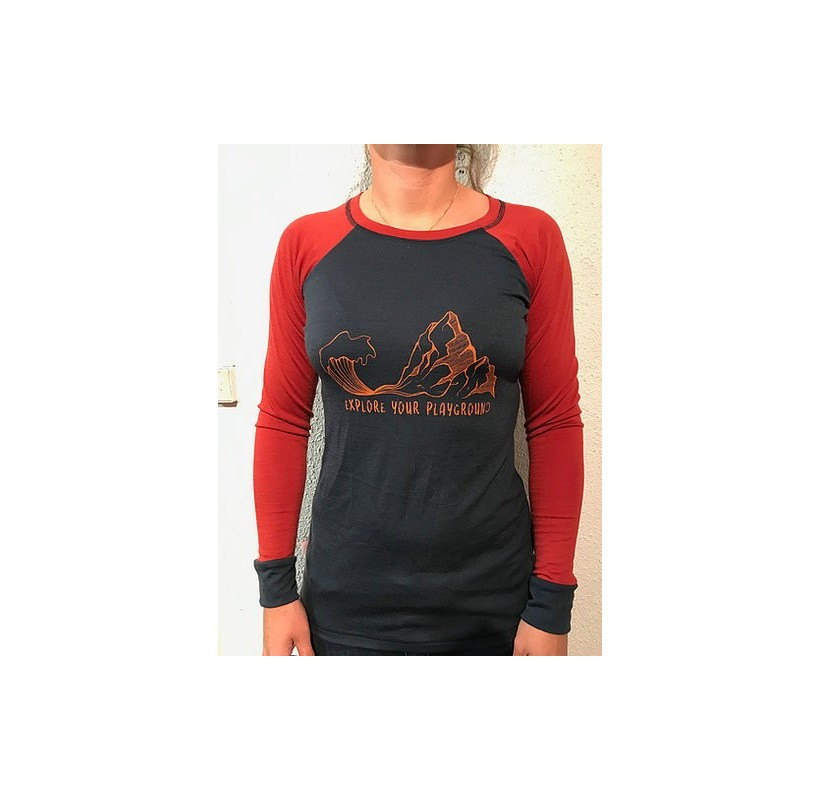 Explore your playground MAILLE A PART tee-shirt femme manches longues Mérinos