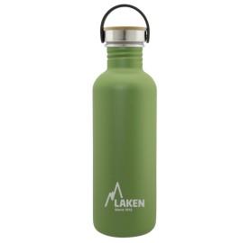 LAKEN GOURDE INOX ACIER 1 litre - Bouchon Bambou VERT FONCE