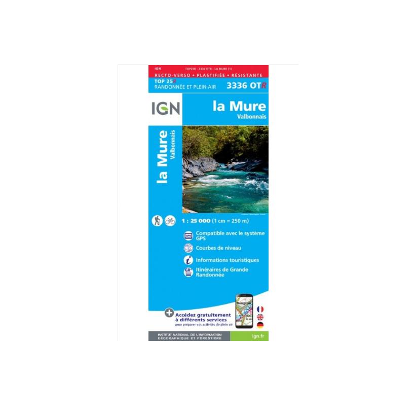 LA MURE VALBONNAIS Carte IGN TOP 25 3336OTR format résistante