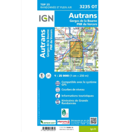 AUTRANS GORGES DE LA BOURNE PNR VERCORS Carte IGN TOP 25 3235OT