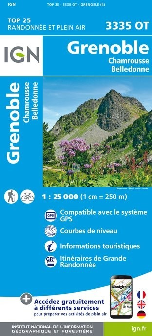 Carte IGN TOP 25 3335OT GRENOBLE