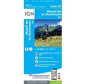 CHARTREUSE SUD Carte IGN TOP 25 3334OT