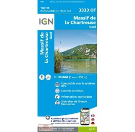 CHARTREUSE NORD Carte IGN TOP 25 Carte IGN 3333OT