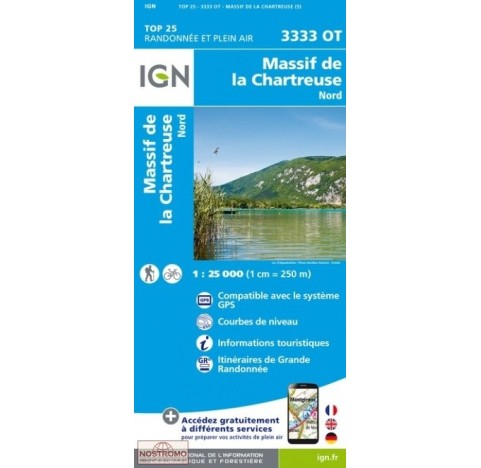 Carte IGN TOP 25 Carte IGN 3333OT CHARTREUSE NORD