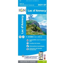 Carte IGN TOP 25 3431OT LAC D'ANNECY