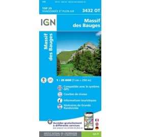3432OT MASSIF DES BAUGES IGN TOP 25