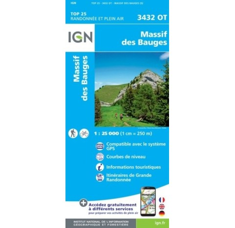 MASSIF DES BAUGES Carte IGN TOP 25 3432OT