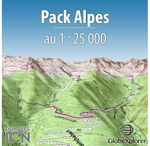 Pack IGN Alpes - France / Suisse / Italie - 1 : 25 000 - GlobeXplorer