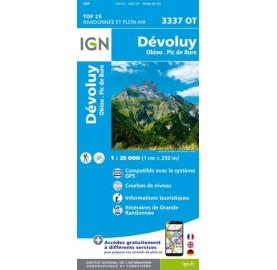 DEVOLUY - OBIOU - Pic de Bure Carte IGN TOP 25 3337OT