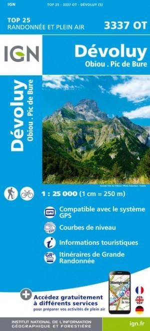 Carte IGN TOP 25 3337OT DEVOLUY - OBIOU - Pic de Bure