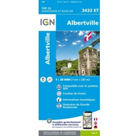 Carte IGN TOP 25 3432ET ALBERTVILLE