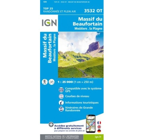 BEAUFORTAIN Carte IGN TOP 25 3532OT