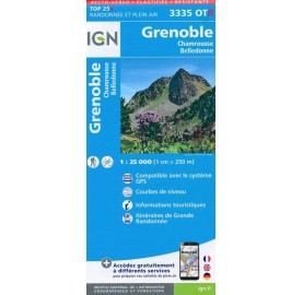 Carte IGN TOP 25 3335OTR GRENOBLE CHAMROUSSE
