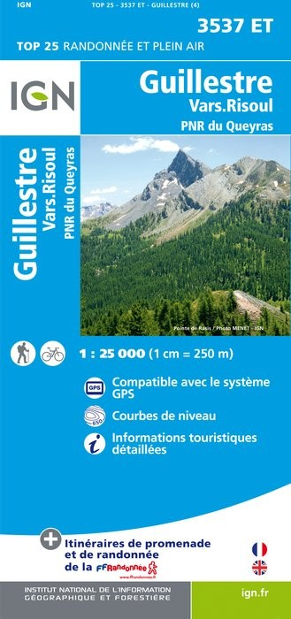 Carte IGN TOP 25 3537ET GUILLESTRE PNR QUEYRAS