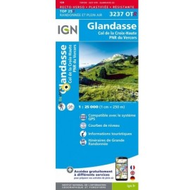 Carte IGN TOP 25 3237OTR GLANDASSE