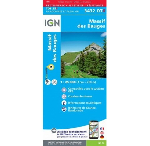 Carte IGN TOP 25 3432OTR BAUGES
