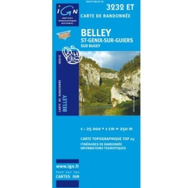 Carte IGN 3232ET BELLEY SAINT GENIX SUR GUIERS SUD BUGEY IGN TOP 25