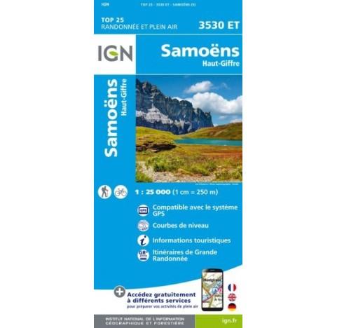 SAMOENS HAUT GIFFRE Carte IGN TOP 25 3530ET