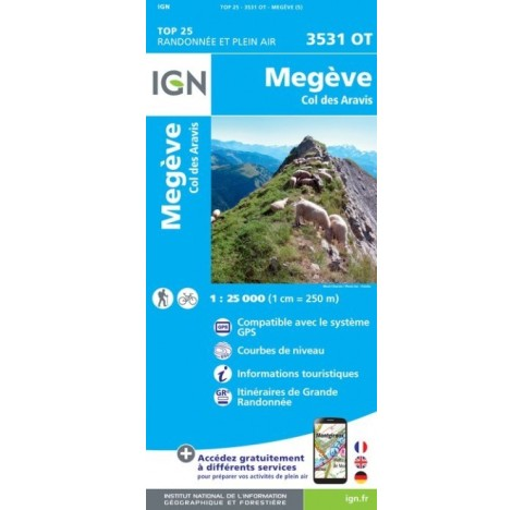 Carte IGN TOP 25 3531OT MEGEVE