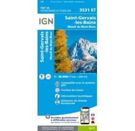 Carte IGN TOP 25 3531ET SAINT GERVAIS LES BAINS