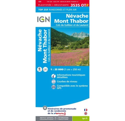 Carte IGN TOP 25 - 3535OTR NEVACHE MONT THABOR