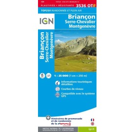 Carte IGN TOP 25 - 3536OTR BRIANCON SERRE CHEVALIER MONTGENEVRE