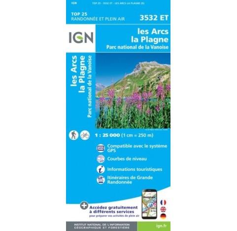 LES ARCS LA PLAGNE Carte IGN TOP 25 3532ET