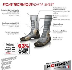 Chaussette rando estivale 63 % laine TREK EXTRA LIGHT  Monnet Made In France