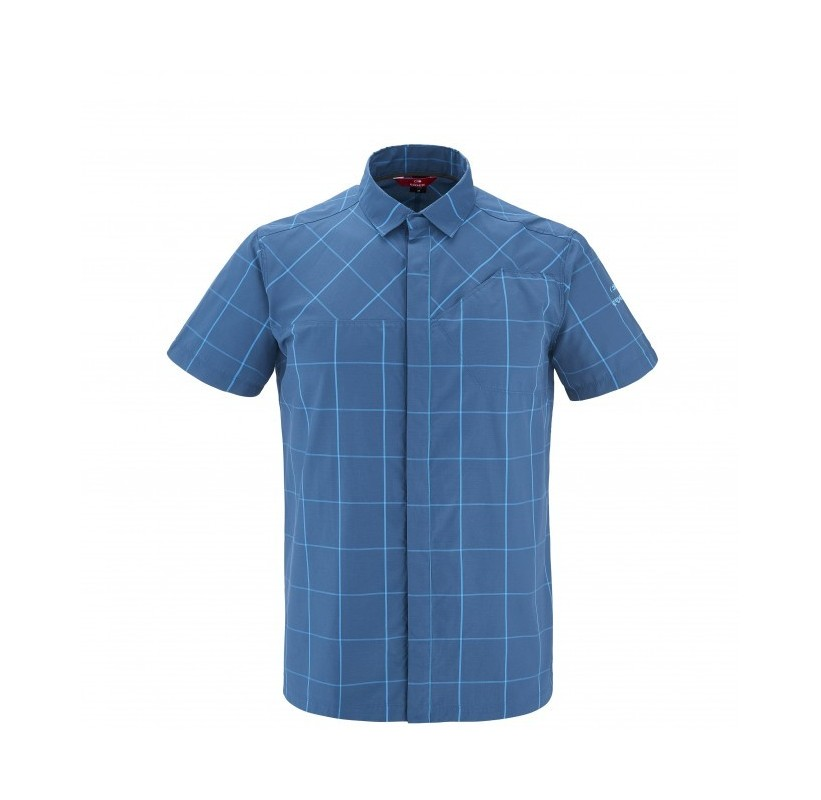 SQUAMISH CHECK SHIRT M - chemise rando respirante homme coton et polyester - morning bleu